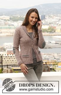 """Knitted DROPS jacket with pocket edges, elbow patches and shawl collar in """"Fabel"""". Size: S - XXXL. ~ DROPS Design"""