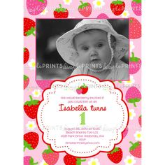 Strawberry Printable Birthday Invitation by ShopDimpleprints, $13.00