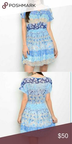 Blue Patchwork Floral Print Flowy Dress Boutique item. Made in the USA 100% Rayon Dresses Midi
