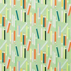 Alexander Henry House Designer - My World of Smiles - My Pencils in Sage/Bright