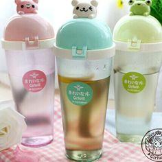 Cute Pig, Bear, & Frog Water Bottle