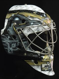 "Marc-Andre Fleury asked for something ""totally different"" on his new mask this season, a departure from the variations of the ""Angry Flower"" motifs he had sported variations of for several years. Hockey Helmet, Hockey Goalie, Hockey Teams, Pittsburgh Sports, Pittsburgh Penguins Hockey, Pens Hockey, Hockey Stuff, Lets Go Pens, Nhl"