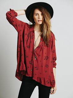 Free People Floral Printed Ruffle Back, $98.00