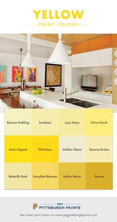 Yellow Paint Color Advice from PPG Pittsburgh Paints - Yellow paint colors are happy and optimistic. It is the color of the smiley face! Choosing the right yellow is sometimes difficult since yellows (Butter Yellow Paint)