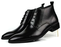 """gentclothes: """"Black Leather Ankle Boots with Brogueing - Shop Now! Ankle Boots Dress, Mens Ankle Boots, Black Leather Ankle Boots, Dress With Boots, Shoe Boots, Dress Shoes, Men's Boots, Gents Clothes, Mens Business Shoes"""