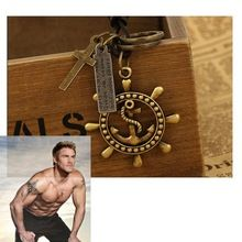 Nova folha moda colar & pingentes com âncora de couro do punk colar de couro para os homens do sexo masculino colar choker jóia frete grátis(China (Mainland))
