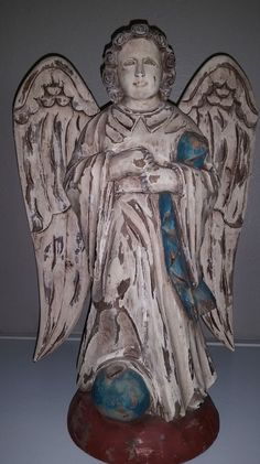 ANTIQUE HAND CARVED WOODEN ANGEL STATUE - initialed OP #Unknown
