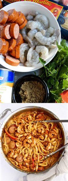 Creamy Cajun Shrimp Pasta with Sausage