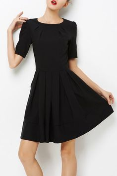 Yulinge Black Pleated Mini A Line Dress   Mini Dresses at DEZZAL Click on picture to purchase!