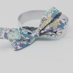 Bracelet jonc MANCHETTE argenté avec Ruban Liberty of London & GRAVURE PERSONNALISÉE by les Bijoux Palilo