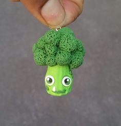 Polymer clay broccoli charm veggie charm vegetable charm (8.99 USD) by NeckLaced