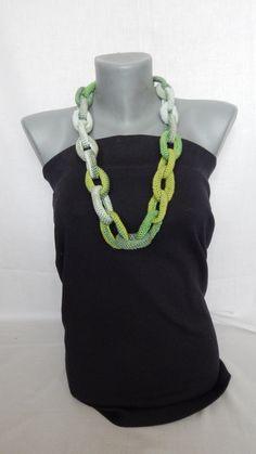 Chunky green chain link crochet handmade necklace, OOAK by MaxMixShop on Etsy