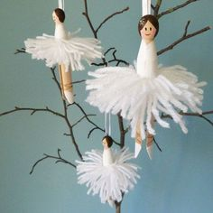 These beautiful sets each contain three lovely peg doll ballerina ornaments. These would look fab in your home or in a childs bedroom. Craft Stick Crafts, Holiday Crafts, Diy And Crafts, Christmas Makes, Christmas Crafts, Christmas Ideas, Clothes Pin Ornaments, Christmas Tree Ornaments, Christmas Decorations