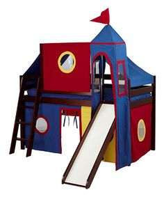 This Cherry Low Loft Bed Tower & Slide by Jackpot!™ Kids Furniture is perfect! #zulilyfinds