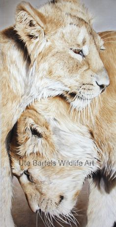 """""""Familienbande"""" Silkpainting, 75 x 100 cm by Ute Bartel Wildlife Art, Lions, Wild Life, Artist, Painting, Tattoos, Sketches Of Animals, Silk Painting, Nature"""