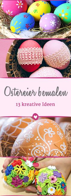 Paint Easter eggs - 13 times different! - Deko & DIY zu Ostern - The Dallas Media Upcycled Crafts, Diy And Crafts, Crafts For Kids, Easter Table, Easter Eggs, Kitchen Ornaments, Diy Ostern, Easter Parade, Easter Colors