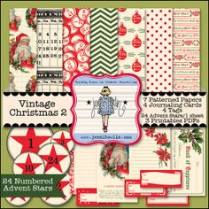 Vintage Christmas 2 - This digital kit is the second lovely collection of Jenni Bowlin's Vintage Christmas paper and elements. Included are 7 Patterned Papers, 4 Journaling Cards, 4 Tags, 24 Numbered Advent Stars, 1 Advent Sheet, and 3 Printable PDFs. @jbowlin7 @jessicasprague  @snapclicksupply *** NOTE: @cre8ivecrafter You Have This One ***