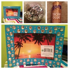 Dollar store frame and rhinestones!! DIY picture frame