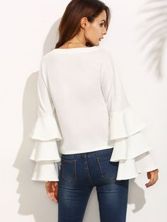 SheIn offers White Round Neck Ruffle Long Sleeve Blouse & more to fit your fashionable needs. Flutter Sleeve Top, Ruffle Sleeve, Long Sleeve Tops, Long Sleeve Shirts, White Ruffle Blouse, Frill Blouse, Ruffle Top, Workwear Fashion, Women's Fashion
