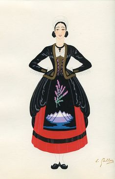 Le Bearn, French Provincial Costumes (1936), artist: Emile Gallois