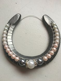 Pink Ombre Pearl Decorative Horseshoe by WrappedNRibbons on Etsy