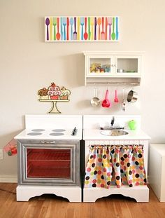 DIY play kitchen made out of two old night stands