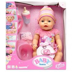 BABY Born Interactive features 8 functions and includes 10 accessories for you to use and care for you BABY Born. This life-like doll cleverly interacts with other accessories. Baby Dolls For Kids, Baby Doll Set, Baby Doll Nursery, Little Girl Toys, Newborn Baby Dolls, Baby Girl Toys, Toys For Girls, Kids Toys, Baby Alive Doll Clothes