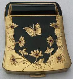 Vintage Ladies Compact Powder and Lipstick Holder Used | eBay