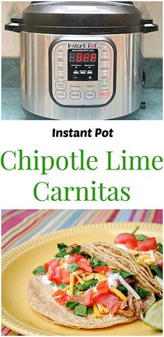 Instant Pot Chipotle Lime Carnitas will satisfy your craving for southwest flavors. Tangy fresh lime and smoky chipotle peppers with tender pork make this filling perfect for tacos, enchiladas, and burritos! | What's Cookin, Chicago?