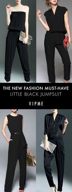 No time to change before dinner after a long day on shore? Try a black jumpsuit for a look is beautiful any time of day, whether you're wandering a tropical island or indulging at one of our fine dining venues. Fashion 2017, Couture Fashion, Latest Fashion Trends, New Fashion, Dressed To The Nines, Minimalist Wardrobe, Formal Looks, All Black Everything, Black Jumpsuit