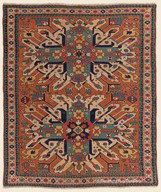 "EAGLE KAZAK, 4' 8"" x 5' 5"" — 3rd Quarter, 19th Century, Southern Central Caucasian Antique Rug - Claremont Rug Company"