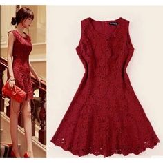 Cool! Elegant Lace Wine Red Hook flower Hollow Fishtail Dress just $54.99 from ByGoods.com! I can't wait to get it!
