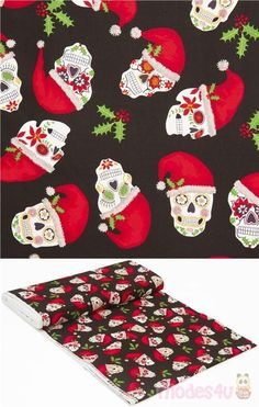 black fabric with sugar skulls in white and red embellishments and wearing jaunty red christmas santa hat, Christmas Sugar Skulls, very high quality fabric, typical great Timeless Treasures quality #Cotton #Bones #Skeletons #Skulls #Halloween #Christmas #USAFabrics