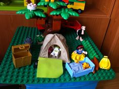 Lego Duplo play with textile additions.