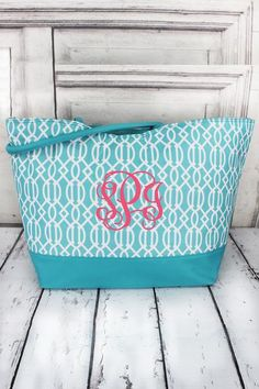 Aqua Lattice Large Shoulder Tote Perfect for the beach, pool, weekend trips, and more! Wholesale Purses, Beach Weather, Spring Break, Purses And Handbags, Toy Chest, Aqua, Monogram, Shoulder, Clock