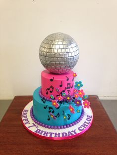 Disco and Flowers Birthday Cake