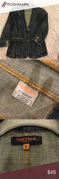 Vertigo Paris denim jean jacket sz S Fitted waist line, 3/4 sleeves. Never worn Vertigo Paris Jackets & Coats Jean Jackets