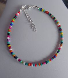 Details about glass bead anklet bracelet mixed COLOURS ankle chain RAINBOW seed bead - Halskette Ideen Beaded Anklets, Anklet Jewelry, Anklet Bracelet, Seed Bead Jewelry, Bead Jewellery, Beaded Choker, Diy Jewelry, Beaded Jewelry, Beaded Bracelets