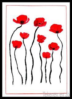 Klaprozen het symbool van WOI omdat ze op de slagvelden in Vlaanderen uitbundig bloeiden. In het beroemde gedicht 'In Flanders Fields' worden deze 'poppies' dan ook genoemd.  De kinderen schilderen een aantal klaprozen op de bovenste helft van hun vel. Met zwart worden de stelen slingerend naar beneden getrokken, alsof de klaprozen in de wind staan te wiegen. Met potlood een rood kader om het vel en opplakken op een zwarte achtergrond.