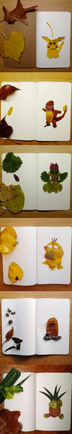 Pokemon characters made out of leaves