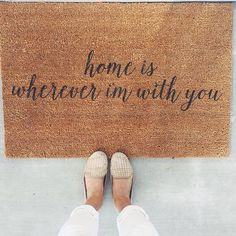 I love this! Home Is Wherever I'm With You Doormat / Door Mat by LoRustique