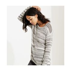 LOFT Lou & Grey Spaceknit Sweater ($60) ❤ liked on Polyvore featuring tops, sweaters, popcorn, boatneck top, grey sweater, loft tops, gray knit sweater and long sleeve knit tops