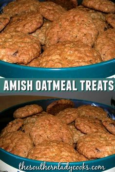 These Oatmeal Treats are one of the Southern Lady& favorites. This is an Amish recipe from a cookbook that is at least 30 years old. Amish Cookies, Brownie Cookies, Oatmeal Cookies, Cookie Desserts, Yummy Cookies, Cupcake Cookies, Just Desserts, Cookies Et Biscuits, Cookie Recipes