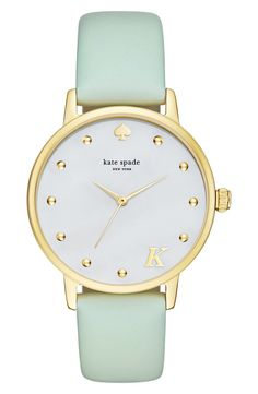 Mint green and gold pair together for this pretty pastel watch from Kate Spade.
