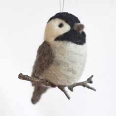 needle felted bird on a branch ornament ♥                              …