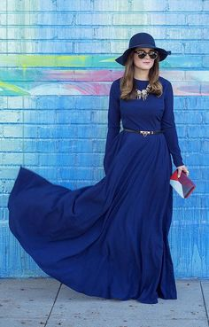 A Long-Sleeved Maxi Dress and Wide-Brim Hat