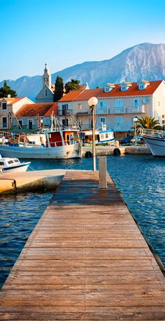 Wooden pier on the island of Hvar with Beautiful Mountain View, Croatia
