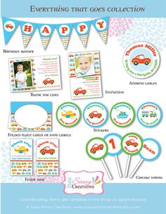 Printable transportation birthday banner, printed birthday banner for boys  LOVE THE COLORFUL COLLECTION