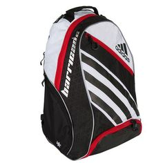 The Adidas Barricade IV Tennis Backpack has  a large back panel compartment which holds up to two racquets, gear,  apparel, and accessories. It comes with a tricot-lined media pocket that  is designed to keep your cellphone and MP3 player safe. One side of the  bag features a water bottle or ball pocket, while the other side  contains a freshPAK ventilated compartment that keeps your gear dry at  all times. Carry the Adidas Barricade IV Tennis Backpack with the  ClimaCool foam shoulder…