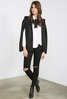 Hooded Plaid Cape | FOREVER21 - 2000099685